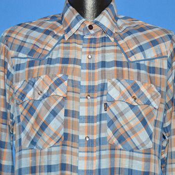 80s Levis Plaid Western Pearl Snap Men's Shirt Medium