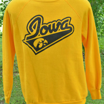 80s Iowa Hawkeyes Raglan Crew Neck Sweatshirt University of Iowa Herky the Hawk Large Tultex