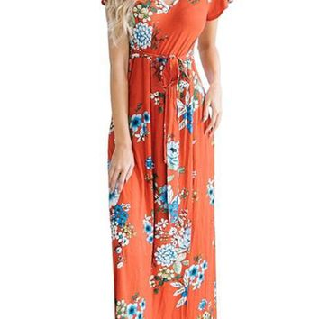 Chic Poppy Red Floral Print Cap Sleeve Maxi Dresses