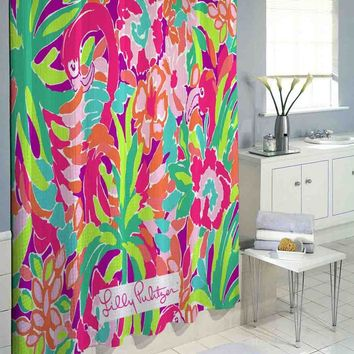 Lilly Pulitzer Flamingo High Quality Custom Shower Curtain 60 x 72 66 x 72