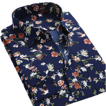 Long Sleeve Brand Printed Male Formal Business Polka Dot Floral  Shirt