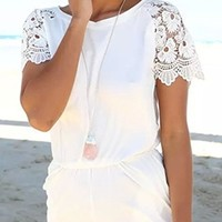 White Crochet Lace Short Sleeve Scoop Neck Elastic Waist Short Romper