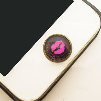 1PC Retro Epoxy Valentine's Hot Lips Transparent Time Gems Alloy  Cell Phone Home Button Sticker Charm for iPhone 4s,4g,5,5c Gift for Her