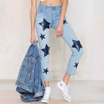 Light Denim Blue Star Jeans