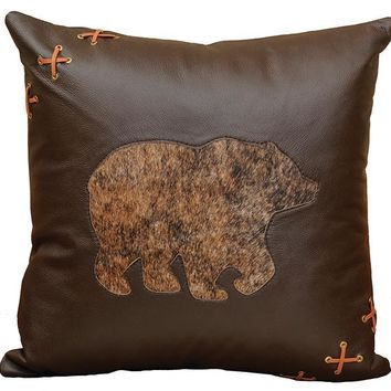 Cabin Bear Leather Pillow