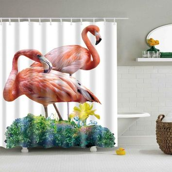 Creative Digital Printing Flamingo Shower Curtain Polyester Waterproof Bathroom Curtains Home Bathroom Decoration