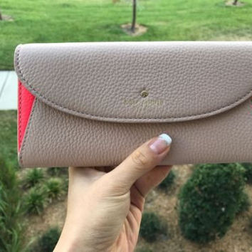 NWT Kate Spade New York Cobble Hill Trista Beige Coral Wallet Clutch Purse $228