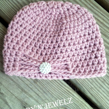 Crochet baby girl butterfly style hat, crochet baby beanie hat, newborn girl hat, baby girl beanie, pink photo prop *MADE TO ORDER*