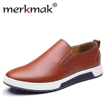 Merkmak Autumn Men Leather Loafers Slip On Casual Shoes Moccasins