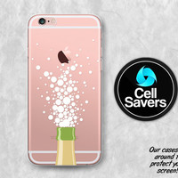 Champagne Bubbles Clear iPhone 7 Plus iPhone 6s Case iPhone 6 iPhone 6 Plus iPhone 6s + iPhone 5c iPhone 5 SE Clear Case Bottle Bubbles
