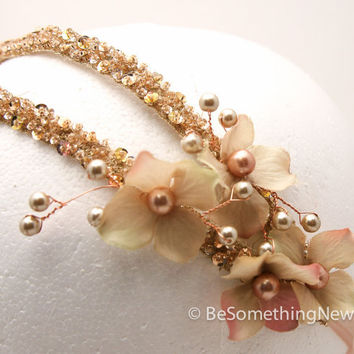 Blush wedding hair acessory, beaded double tie headband with petals and pearls