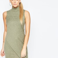 Boohoo Ribbed High Neck Knitted Dress
