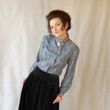 Soft French Blue, Teal & Mauve Color, Tiny Floral Print, Button Up Victorian Country Style Blouse  size 7/8
