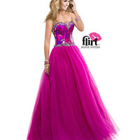 Flirt by Maggie Sottero 2014 Prom Dresses - Cerise Ball Gown with Sequined Bodice