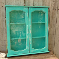 Spice Rack, Bathroom Wall Cabinet, Shabby Chic, Tiffany Blue, Aqua, Turquoise, Hand Painted, Distressed, Upcycled