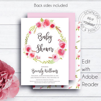Baby Shower, Printable Invitation, Rose Wreath, Floral Wreath, Baby Girl, Boho, Watercolor, Baby Shower Invite, Floral Baby Shower