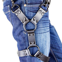 Double Black O Ring Black Leather Thigh Leg Harness