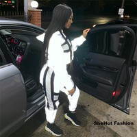 Women Casual Two Piece Color Block Reflective Long Sleeve Hooded Top Pant Set