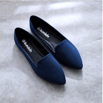 Women Big size 43 Plain Flock pointy closed toe platform single low Cutter Lady Boat shoes Summer style Fashion Slip- on Loafer