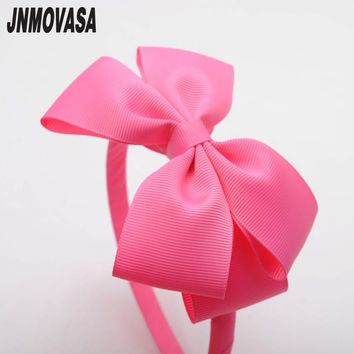 High Quanlity Big bows Lovely Girls Hairband Solid Ribbon Hairbow Hair Bands For Girls Ribbon Band Kids Hair Accessories