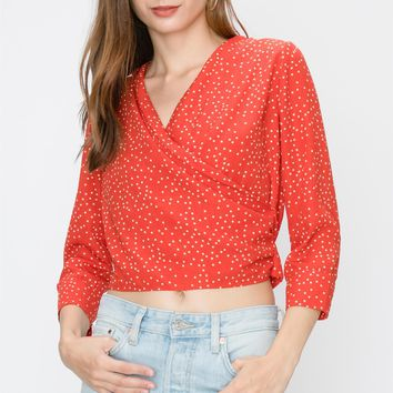 3/4 SLEEVE POLKA DOT SURPLICE BLOUSE WITH TIE BACK DETAIL