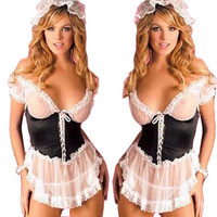 2016 france style maid uniform plus size XXXL sexy lingerie hot Perspective gauze lace Slim SM cosplay lenceria sexy costumes