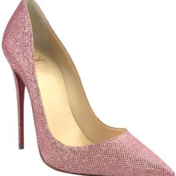 Christian Louboutin Pink So Kate 120 Poudre Glitter Tisse Heel Pumps Size EU 39 (Approx. US 9) Regular (M, B)