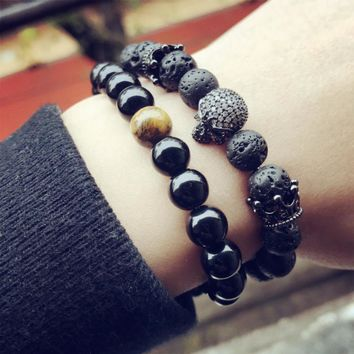Skeleton Natural Black Lava Rock Beaded Bracelet