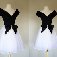 1980's black and white prom dress, fit and flare off shoulder tuxedo dress, big bow rhinestone gown, Medium, US 8