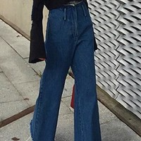 Blue High Waisted Button Fly Wide Leg Flare Fashion Jeans