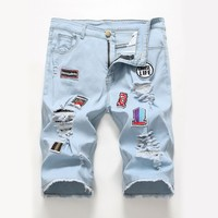 Denim Strong Character Stylish Fashion Ripped Holes Baggy Jeans Stretch Men Shorts [3444984479837]