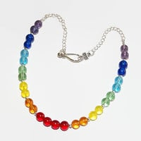 Seven 7 Chakra Healiing Choker or Necklace made of rainbow colored glass round beads and silver Chain.