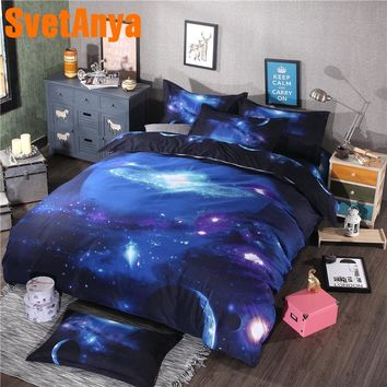 Svetanya Pillowcase+Blanket Cover Bedding Set (no Sheet) Universe Outer Space 3d Galaxy Bed Linens Twin Full Queen Double Size