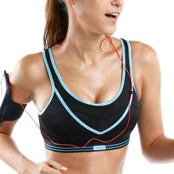 Women's High Impact Wireless Support Cool Racerback Gym Active Non Padded Sports Bra