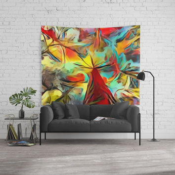 Red forest, colorful sky view, abstract warm artwork, red and yellow colors, nature themed pattern Wall Tapestry by Casemiro Arts - Peter Reiss