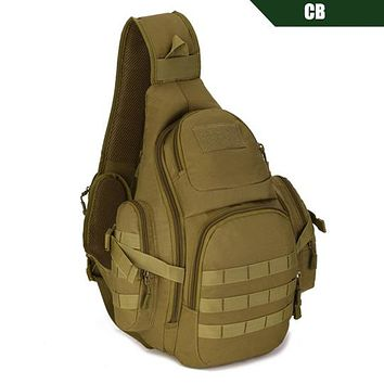 "Tactical Sling Bag 14"" Laptop Waterproof Molle Military Travel Backpack Camping"