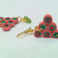 Paper Earring - Quilled Earring - Green and Red Geometric collection