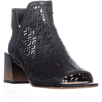 Vince Camuto Sternat Perforated Block Heel Boots, Black, 9.5 US / 39.5 EU
