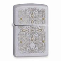 Zippo Classical Curve Satin Chrome Lighter - Engravable Personalized Gift Item