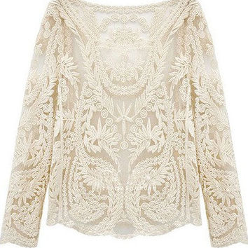 Lace crochet white long sleeve blouse