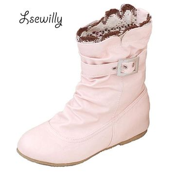 Lsewilly Women Boots Fashion Autumn New Sweet Shoes Woman PU Casual Buckle Lace Vintage Ankle Boots Beige/Pink/White/Black AA227