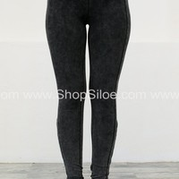 Vintage Charcoal Strappy Leggings
