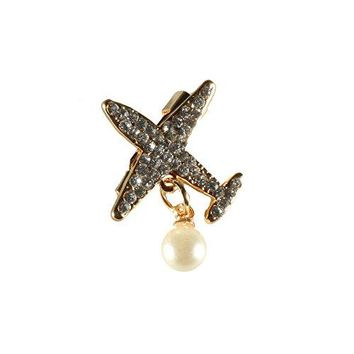 Red Cube Sparkly Brooch Goldtone Plane Jet Airplane Aircraft Air force Rhinestone Crystal Pearl Glamour Pin Jewelry Golden Airplane