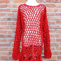 Vintage beautiful cherry red handmade crochet cutout style sweater