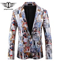 Blazer Men Casual Blazers Men Clothing Printed Blazer Party Prom Wear