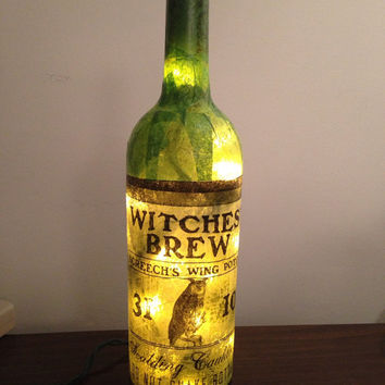 Witches Brew wine bottle lamp, bottle lamp, Halloween decoration