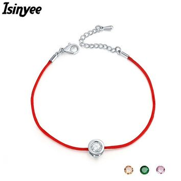 ISINYEE Fashion Red String Thread Rope Bracelet Small Cubic Zirconia CZ Bracelets For Women Handmade Crystal Jewelry Lovers