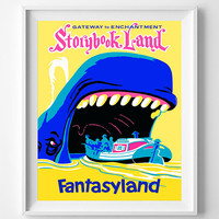 Vintage Disneyland, Poster, Print, Storybook Land, Gateway, Enchantment, Disney, Fantasyland, Reproduction, Restored, Restoration [No 1282]