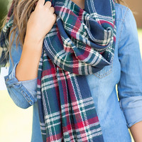 Cute & Cozy Plaid Scarf-Navy