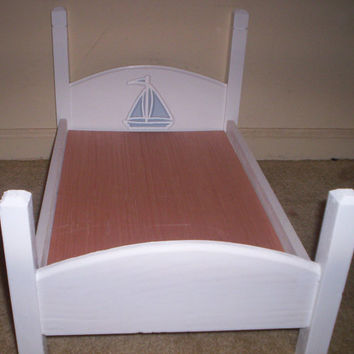 American Girl doll size bed doll furniture white with blue sailboat design